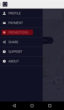 Uber Londyn menu aplikacji